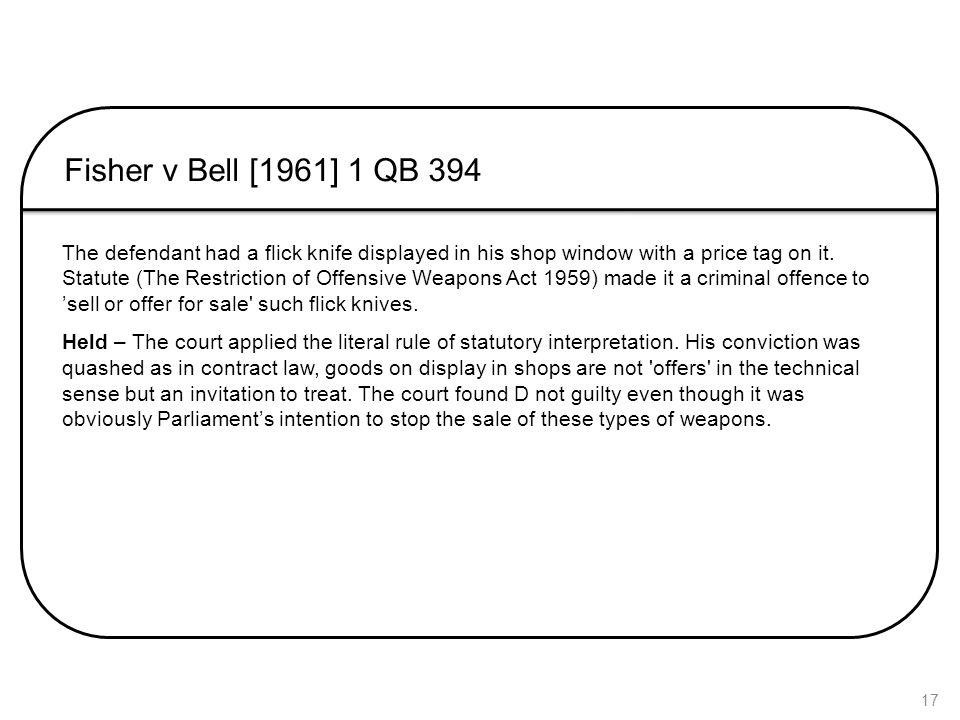 Fisher v Bell [1961] 1 QB 394